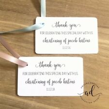 10 Personalised White Gift Thank You Tags Christening Favour Baptism Gift Tag