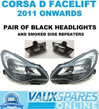 VAUXHALL CORSA D PAIR OF FACELIFT BLACK HEADLIGHTS & TINTED SIDE REPEATERS