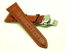 23mm Brown HQ Alligator Grain Leather Watch Strap Polishing Butterfly Clasp