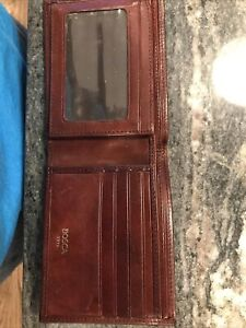 Bosca 1911 Leather Bifold Wallet Brown Men's 11 Cc Slots Driver License Fold Out