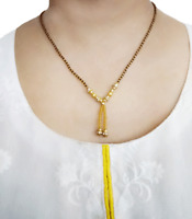 MN12 Daphne Indian Beautiful Black and Golden Beaded Mangalsutra For KarvaCha...