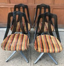 4 Interlake Howell Upholstered Striped Lucite Plastic Chrome Chairs Retro 70s