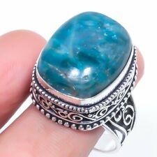 Jewelry Ring Size 8.5 d055 Neon Blue Apatite Gemstone Handmade Gift