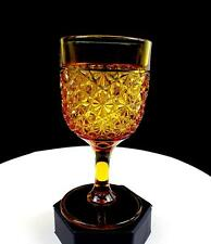 """DEPRESSION ERA GLASS AMBER DAISY AND BUTTON 6 1/4"""" WATER GOBLET 1930's"""