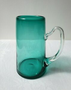Lovely Vintage Turquoise Glass Tankard / Pint Glass With Clear Glass Handle