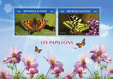Chad 2016 MNH Butterflies Tortoiseshell Swallowtail 2v M/S Papillons Stamps