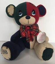 Vintage Precious Moments Cotton Corduroy Teddy Bear Jointed Patches Plaid Bow