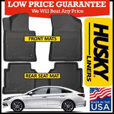 Husky Weatherbeater Front & Rear Floor Mats BLACK fits 2015-2018 Hyundai Sonata
