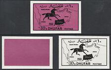 Omán-Dhufar (2187) - 1972 caballo y mapa 10b conjunto de 3 pruebas progresiva U/M