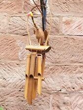 Carillón de Viento Pájaro Natural Bambú & Coco Windchime, carillón de viento