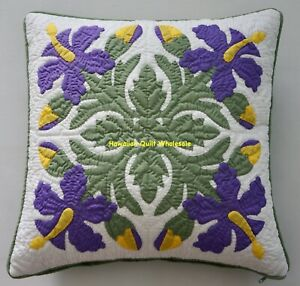 2 Hawaiian quilt handmade cushions hand quilted/appliqué pillow covers VIOLET
