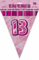 13th Pink Glitz Bunting - 12ft Long - Plastic Party Pennants Flag Banner
