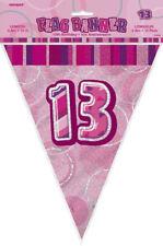 13A Rosa Sfarzo Bunting - 12 Piedi Lungo-PLASTICA PARTY FIAMME bandiera banner
