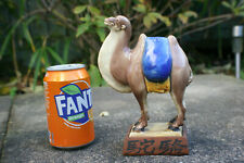 Chinese Porcelain Pottery Carved Camel Figure with Wooden Stand - Signed