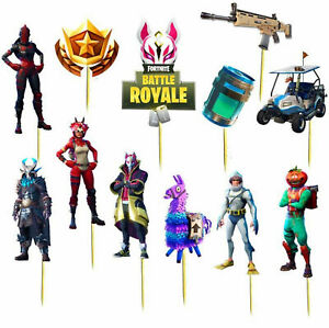 Set of 12 Fortnite Birthday Cup Cake Party Toppers /  Decorations Birthday Cake
