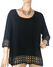🌻 *DREAM DIVA LADIES  SIZE M BLACK JERSEY STYLE TOP WITH LACE DETAIL