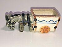 Cute Mini Vintage Porcelain Donkey & Cart Planter Japan See Pics, Make Offer!