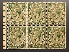 Royal Mail GB (SG351c) NB6 George V MNH Booklet Pane 6 Perf Type P
