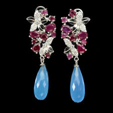 Briolette Blue Dyed Chalcedony 20x8mm Red Ruby Cz 925 Sterling Silver Earrings
