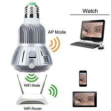 HD 1080P WIFI LED Bulb CCTV Security SPY Hidden DVR Camera Motion Detector E27