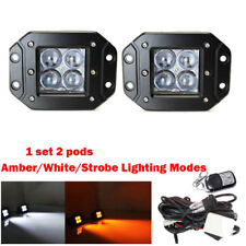 2x 24W 4D Led Flush Mount Work Light Cube Pods Amber+White+Strobe & Wiring Kits