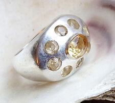 Design Silberring 58 Massiv  Handarbeit Citrin Quer Ring Silber Schlicht Elegant