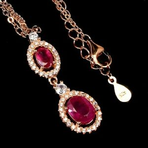 Oval Red Ruby 8x6mm Cz 14K Rose Gold Plate 925 Sterling Silver Necklace 19 Ins