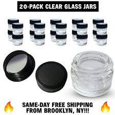 20-Pack Thick CLEAR GLASS 5mL Jars & Cap DIY Concentrate FREE SHIPPING