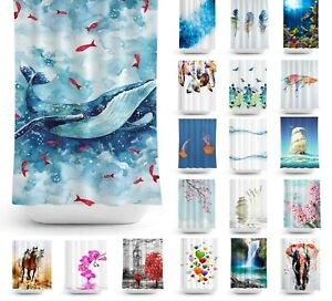 Tropik Home Extra Long Fabric Bathroom Shower Curtains, 180 Wide by 200CM Drop