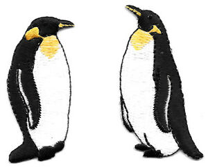 Set Of 2 - Penguin - Emperor Penguins -  Embroidered Iron On Applique Patches