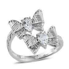 WHITE DIAMOND SIMULATE BYPASS BOW PLATINUM BONDED BRASS DESIGNER RING SIZE 6