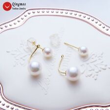 AAA 8mm Round White Pearl Double Front Back Earrings for Women 14K Gold Ear Stud