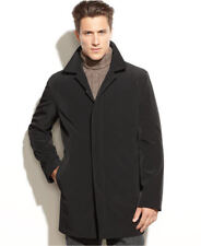Kenneth Cole New York Mens Onyx Black Trench Coat w/ Removable Lining Large $350