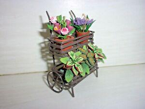 METAL PLANTER / FLOWER CART - FILLED - REUTTER PORCELAIN -- DOLL HOUSE MINIATURE