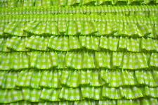 Rüschenband Vichy elastisch 1 Meter Rüschen Rüsche Borte Nähen lime grün
