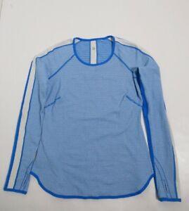 Lululemon Runder Under Long Sleeve Mini Check Pique Beaming Blue Polar Cream 8