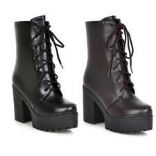 Новые женские ботильоны британские на шнуровке платформе блок каблук повседневная обувь на открытом воздухе D