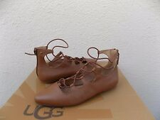 UGG LORIANNA BROWN LEATHER PARISIAN ELASTIC WRAP FLATS SHOES, US 10 / EU 41 ~NIB