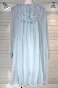 Vintage Nylon Layered Ruffle Trim Long Sleeved Nightie Nightdress - Large