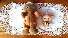 Large Vintage Gingerbread Man Rattle & Small Hugfun Bear Baby Rattle