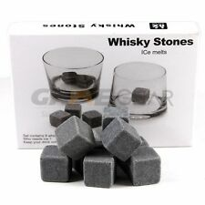9pc Whiskey Whisky Scotch Soapstone Cold Glacier Stone Ice Cubes Rocks Free Bag