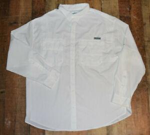 Columbia PFG Tamiami II Fishing Shirt Mens XXL 2XL White Long Sleeve EUC B53