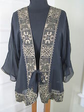 CHICOS I-Have-Style Silk Jet Black Gold Trim Jacket 3 L/XL