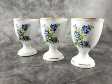 Set of 3 Vintage Porcelain Egg Cups Featuring Forget-Me-Not, from 1960's
