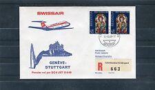 Beautiful maiden flight-voucher Switzerland Geneva-Stuttgart DC-9 JET 11-8-69