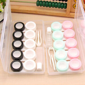 Portable Plain Eye Care Kit Storage Contact Lens Case Box Holder Container YG