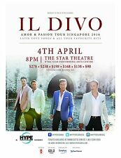 """Il Divo """"Amor & Passion Tour Singapore 2016"""" Concert Poster- Classical Crossover"""
