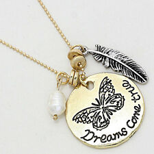 Lovely Gold DREAMS COME TRUE Understated Charm Short Necklace By Rocks Boutique