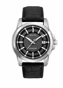 Bulova Precisionist Men's Watch, Stainless Steel with Black Leather 96B158