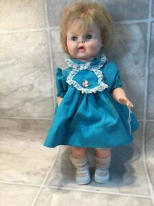 vtg 1950's or 60's baby doll. drink and wet, eyes close, dress, socks &shoes